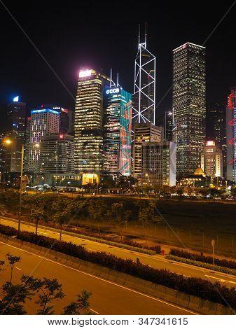 Central, Hong Kong - November 2, 2017: An Image Of The Hong Kong Skyline Taken From Man Yiu Street.