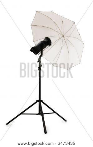 White Studio Umbrella Isolated