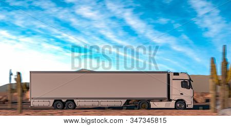 Side View Of White Semi Truck With Empty Space On Refrigerator Driving Along The Route Through Deser