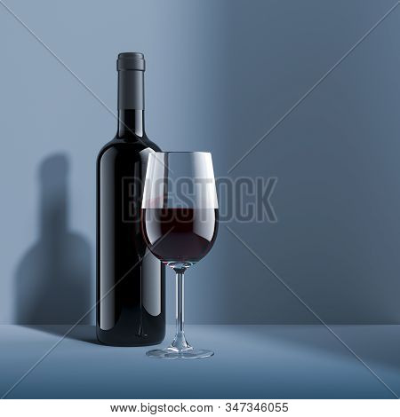 Realistic Glass Of Red Wine And Blank Wine Bottle Isolated On Minialistic Gray And Blue Background .