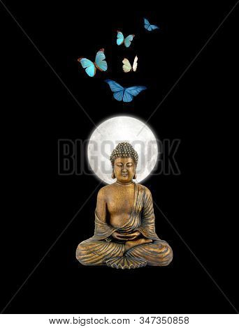 Spiritual Background For Meditation With Budha Statue And Butterflies Isolated In Color Background