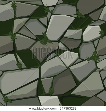 Texture For Paving Stone On The Grass.