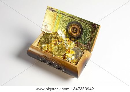 Golden Bitcoin Coins , Gold And Banknote In The Treasure Trove, Cryptocurrency In Wooden Chest, Gift