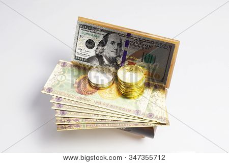 Bitcoin, Dollar Banknotes And Golden Btc Coins On The Treasure Trove, Cryptocurrency In Wooden Chest