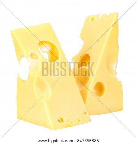 Standing Two Triangular Pieces Of Maasdam Cheese Isolated On A White Background