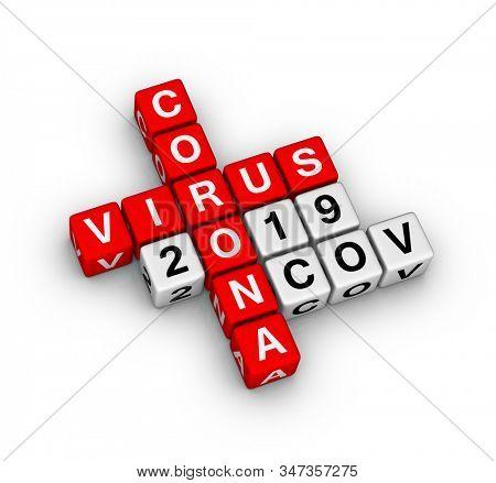 Wuhan Coronavirus 2019-nCoV. 3D crossword puzzle.