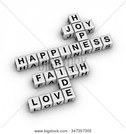 Positive Emotion Word Cloud. 3D cubes crossword puzzle on white background.