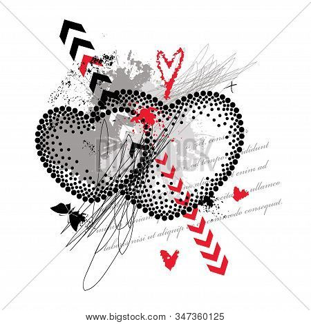 Vector Dotted Valentine Two Heart With Arrows, Strokes And Butterflies In Black And Red Isolated On
