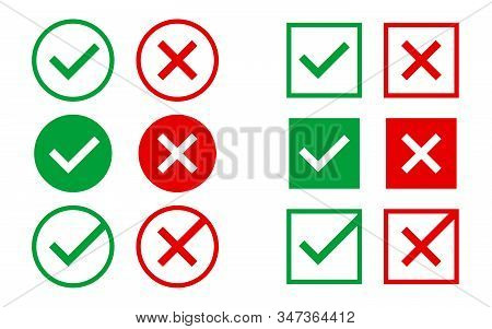 Approved And Rejected Icons On White Backdrop. Green And Red Marks. Right And Wrong Symbols. Checkma