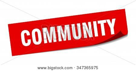 Community Sticker. Community Square Isolated Sign. Community