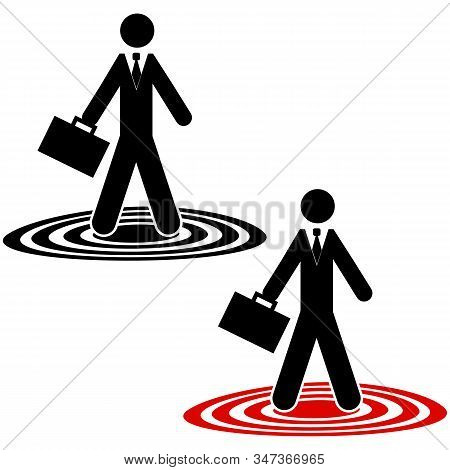 Icon Showing A Businessman Standing Atop Circles On The Ground