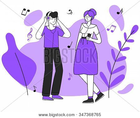 Young Music Lovers, Male And Female With Earphones Vector Illustration. Leisure, Walking, Relax. Tee