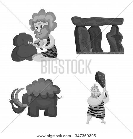 Isolated Object Of Survival And History Symbol. Set Of Survival And Prehistory Vector Icon For Stock