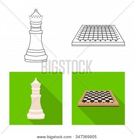 Vector Illustration Of Checkmate And Thin Icon. Set Of Checkmate And Target Stock Vector Illustratio