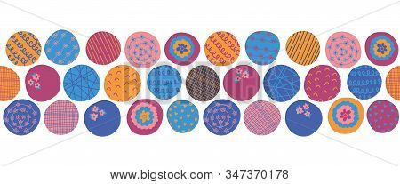 Fun Textured Circles Seamless Vector Border. Pink, Orange, Purple, Blue Dots Repeating Background. A