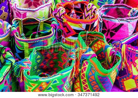 Street Selling In Cartagena De Indias Of Traditional Bags Hand Knitted By Women Of The Wayuu Communi