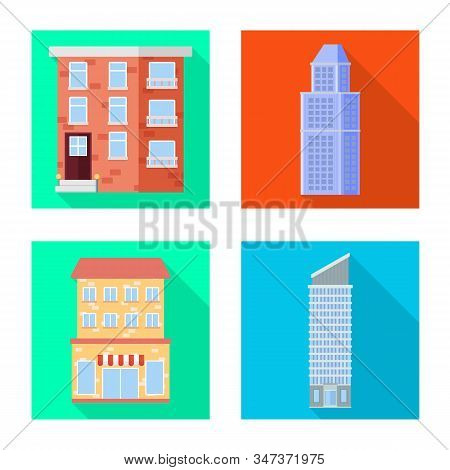 Vector Illustration Of Municipal And Center Logo. Collection Of Municipal And Estate Vector Icon For