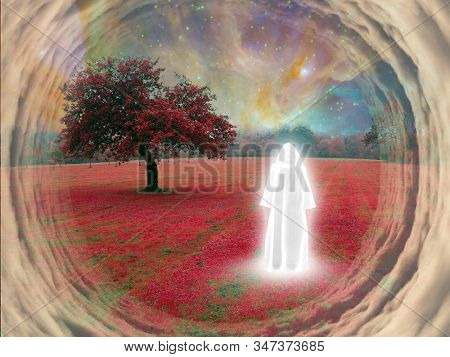 White monk in a surreal landscape. Tree with red leaves. 3D rendering