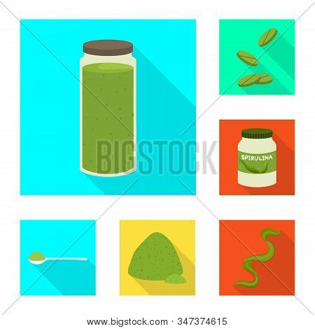 Vector Illustration Of Protein And Sea Sign. Collection Of Protein And Natural Stock Symbol For Web.