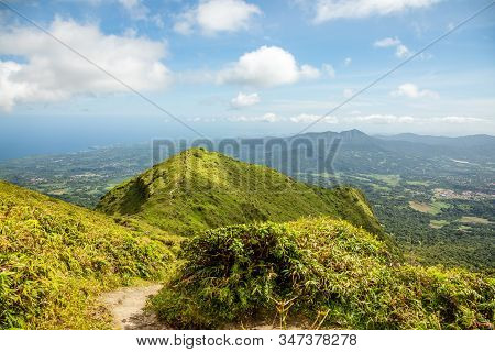 Mount Pelee Green Volcano Hillside Panorama, Martinique,  French Overseas Department