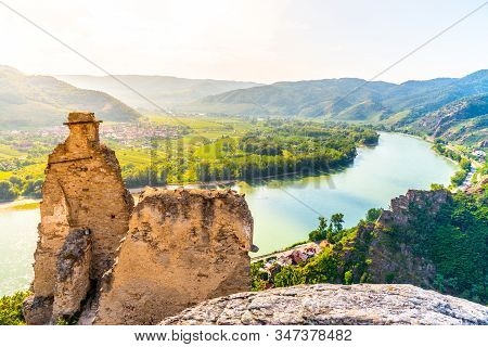 Scenic Aerial View Of Wachau Valley And Danube River From Durnstein Castle Ruins, Austria
