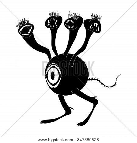 A Concept Of An Alien Creature With One Big Eye And Many Toothy Heads. Critter Walks On Two Legs. Si