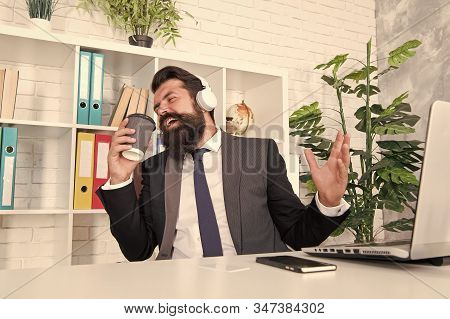 I Want To Break Free. Office Singer. Bearded Man Sing Song At Workplace. Businessman Pretend Singing