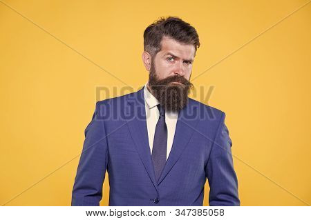 He Is Life Ganger. Serious Intentions. Businessman Formal Suit. Handsome Bearded Man Ceo. Successful
