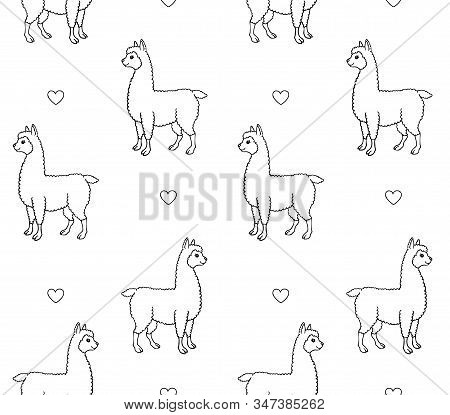 Vector Seamless Pattern Of Hand Drawn Doodle Sketch Llama Alpaca And Hearts Isolated On White Backgr