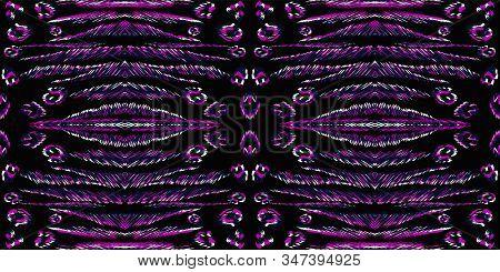 Dark Animal Skin Vector Seamless Pattern. Purple Puma Exotic African Pattern. Neon Cheetah Fur Luxur
