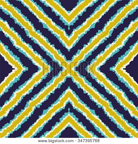 Indigo Bohemian Ikat Vector Seamless Pattern. Handmade Tribal Indian Texture. Japan Drawn Print. Blu