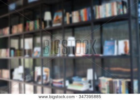 Blur Book Shelf In The Living Room