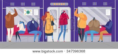 People On Street Flu Season Epidemic Virus Disease Vector Illustration. Ill Family Treating Sick Flu