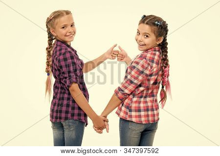 Alright Thumb Up. Fashionable Cutie. Happy Childhood. Keep Hair Braided. Sisters With Long Braided H