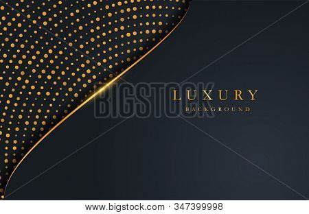 Luxury Elegant Background With Gold Circle Element And Dots Particle On Dark Surface. Business Prese