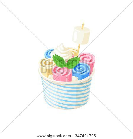 Basket Of Stir Fried Colorful Ice Cream Rolls Under Whipped Cream Decorated With Mint Leaves And Mar
