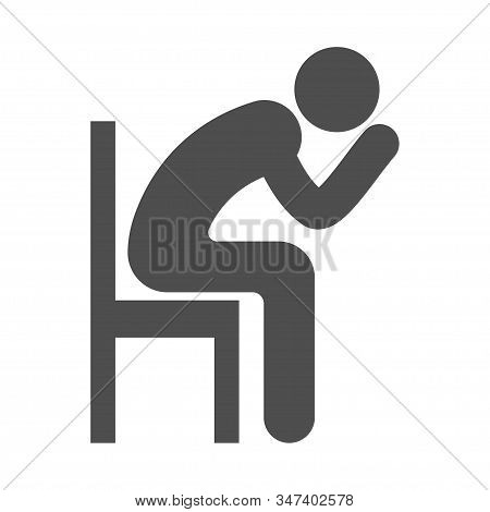 Alone Person Sitting On Chair. Depression, Stress And Sadness Icon Symbol.