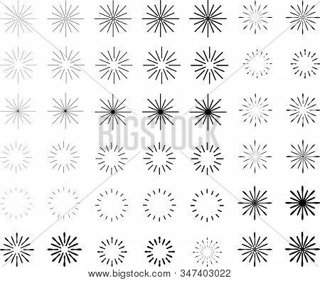 Retro Sun Burst Shape And Vintage Sunburst Explosion. Light Rays Of Burst. Vintage Logo, Labels, Bad