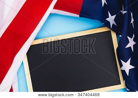 Us American Flag With Blackboard On Blue Background. For Usa Memorial Day, Presidents Day, Veterans