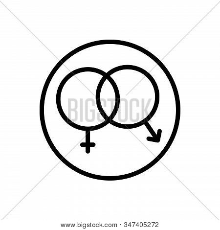 Black Line Icon For Sex Unisex Heterosexual Gender Coitus Cohabitation Coexistence  Shape Sexual Int