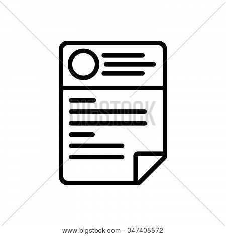 Black Line Icon For Cv Resume Template Paper Biography Biodata