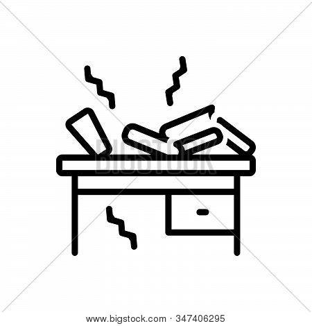 Black Line Icon For Oscillate Shudder Vibrancy Shaking Dangle Book-self Book Desk Break