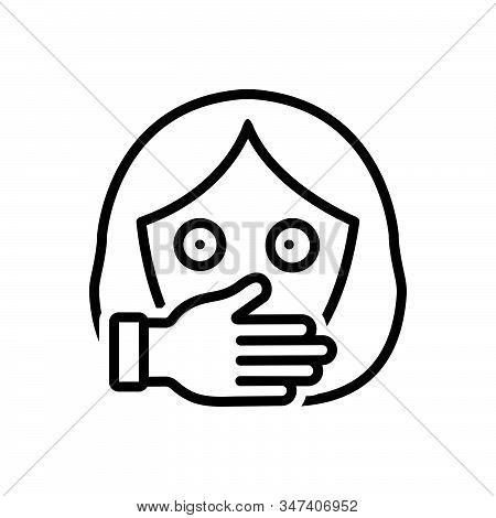 Black Line Icon For Oppression Harassment Persecution Tyranny Prisoner Female Kidnap