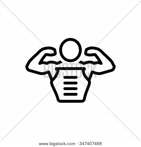 Black Line Icon For Pectorals Body Muscle Man Skin Abdomen Bodybuilder Strong Physique Gym