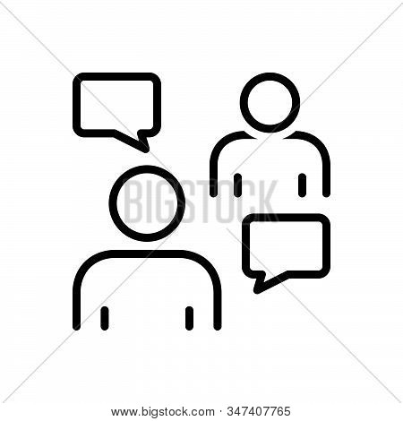 Black Line Icon For Persuasive Negotiation Conversation Discussion Agreement Debate Msg Bubble Chat