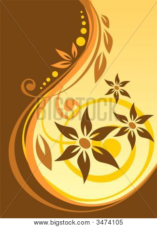 Abstract curves and flowers pattern on a brown background. poster