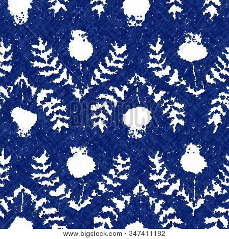 Floral Cyanotype Dyed Effect Worn Navy Pattern
