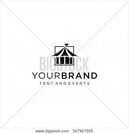 Event Tent Logo Design Vector Stock . Vintage Tent Logo