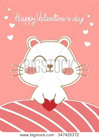 Beautiful Valentines Greeting Card With Pastel Pink Background. White Cute Dog Under Pink Blanket Ho