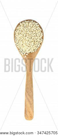 Top View Of White Sesame On Wooden Spoon